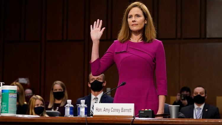 Judge Barrett at her confirmation hearing.